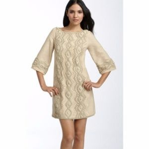 ECI Beaded & Embroidered Linen Shift Dress - 6